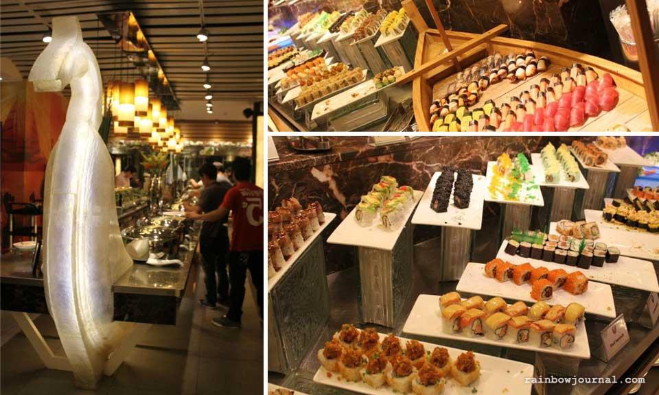 Centerpiece and Sushi bar at Vikings Buffet at Mall of Asia (MOA)